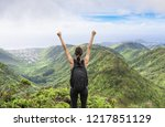 victory on top of the mountain. ... | Shutterstock . vector #1217851129