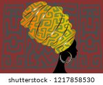 african scarf  portrait afro... | Shutterstock .eps vector #1217858530