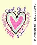 cool girl t shirt design | Shutterstock .eps vector #1217861950