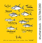sea food sketch   hand drawn... | Shutterstock .eps vector #1217865280
