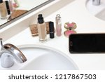 cosmetics and smartphones in... | Shutterstock . vector #1217867503