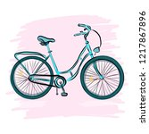 blue bike isolated on a pink... | Shutterstock .eps vector #1217867896