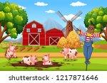 barn house in rural landscape... | Shutterstock .eps vector #1217871646