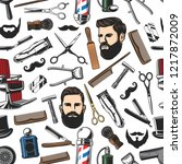 barbershop salon items and man... | Shutterstock .eps vector #1217872009