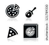 pizza vector icons set with... | Shutterstock .eps vector #121789330