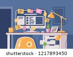 cluttered workplace with... | Shutterstock .eps vector #1217893450