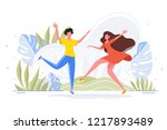 friends dance and joy together... | Shutterstock .eps vector #1217893489