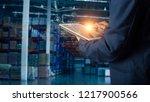 businessman manager using... | Shutterstock . vector #1217900566