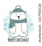 christmas card with white santa ... | Shutterstock .eps vector #1217920126