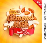 almond milk with almonds and... | Shutterstock .eps vector #1217935360