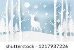 deer winter paper art... | Shutterstock .eps vector #1217937226