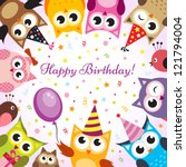 birthday card with owls | Shutterstock .eps vector #121794004