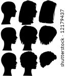 3 profile silhouettes of women  ... | Shutterstock . vector #12179437