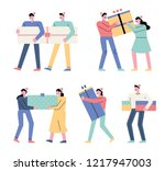 character set of various people ... | Shutterstock .eps vector #1217947003