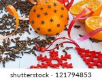 clove decorated orange  scented ... | Shutterstock . vector #121794853