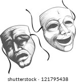 two classic theater masks a sad ... | Shutterstock .eps vector #121795438