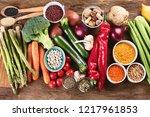 healthy vegan and vegetarian...   Shutterstock . vector #1217961853
