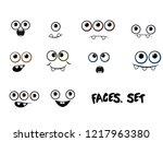 funny cartoon emotional faces...   Shutterstock .eps vector #1217963380