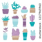 card cactus pot and succulent...   Shutterstock .eps vector #1217965963
