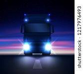 night big semi truck with...   Shutterstock .eps vector #1217976493