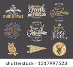 big merry christmas typography...   Shutterstock . vector #1217997523