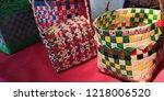 durable plastic woven baskets.... | Shutterstock . vector #1218006520