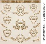 set of golden monograms with... | Shutterstock .eps vector #1218013570