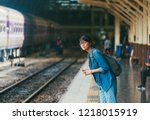 asian woman traveler waiting... | Shutterstock . vector #1218015919