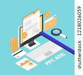 ppc advertising  pay per click  ... | Shutterstock .eps vector #1218026059