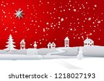 paper cut and craft winter... | Shutterstock .eps vector #1218027193