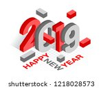 3d isometric text 2019 in red... | Shutterstock .eps vector #1218028573