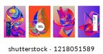 vector abstract 3d colorful... | Shutterstock .eps vector #1218051589