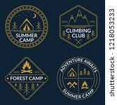 camp logo set. summer and... | Shutterstock .eps vector #1218053233