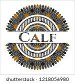 calf arabic badge. arabesque... | Shutterstock .eps vector #1218056980