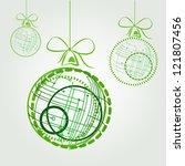 green high tech christmas balls.... | Shutterstock .eps vector #121807456