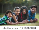happy family of man woman and... | Shutterstock . vector #1218083020