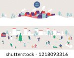 winter outdoor activities.... | Shutterstock .eps vector #1218093316