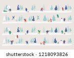 winter park gorizontal banner.... | Shutterstock .eps vector #1218093826