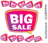 3d big sale tags.    eps8... | Shutterstock .eps vector #121809994