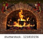 Christmas Fireplace. Burning...