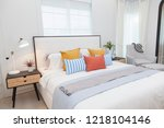 modern home interior with... | Shutterstock . vector #1218104146