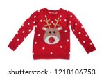 warm christmas sweater on white ... | Shutterstock . vector #1218106753