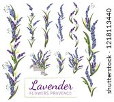 collection of lavender flowers. ... | Shutterstock .eps vector #1218113440