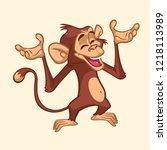 cartoon monkey character....   Shutterstock .eps vector #1218113989