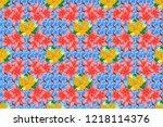 textile print for bed linen ... | Shutterstock . vector #1218114376