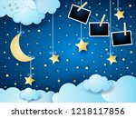 surreal night with moon ... | Shutterstock .eps vector #1218117856