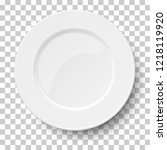 empty classic white plate... | Shutterstock .eps vector #1218119920