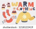 set of winter warm clothing... | Shutterstock .eps vector #1218122419