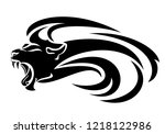 roaring lion head with long... | Shutterstock .eps vector #1218122986