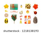 christmas gifts  pine cone ... | Shutterstock . vector #1218138193